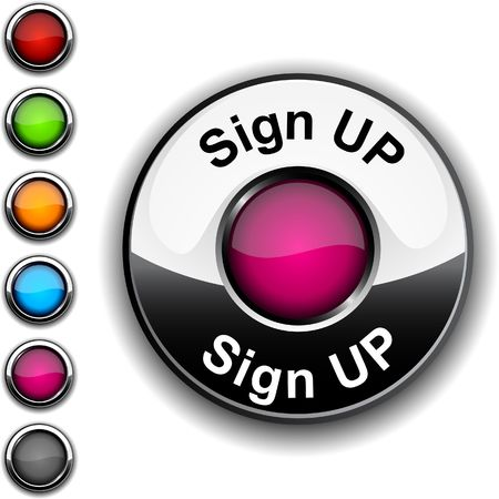 push up:       Sign up realistic button.  Illustration
