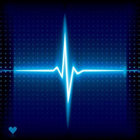 Latidos de corazón azul. Gráfico de Ekg.