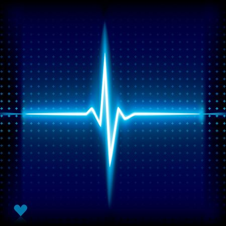 batida de cora��o:  Blue heart beat. Ekg graph.