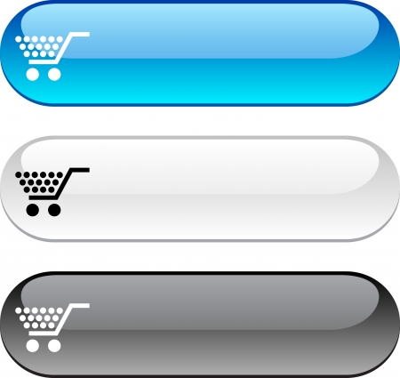 push cart: Shopping glossy buttons. Three color version.