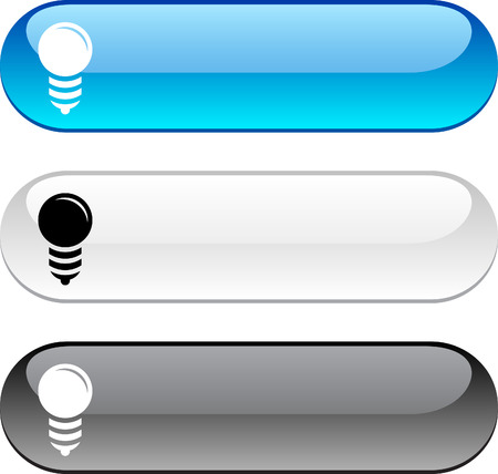 gray bulb: Bulb glossy buttons. Three color version.