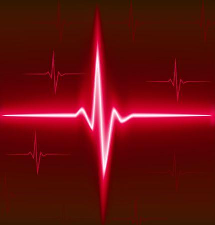 Red heart beat. Ekg graph. Vector