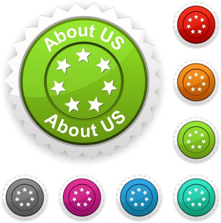 about us: About us  award button.   Illustration