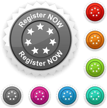 Register now  award button.  Vector