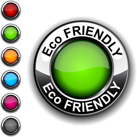eco friendly icon:  Eco friendly realistic button.