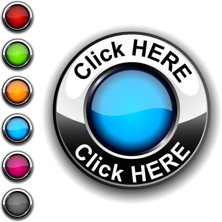 Haga clic aquí botón realista.  Ilustración de vector