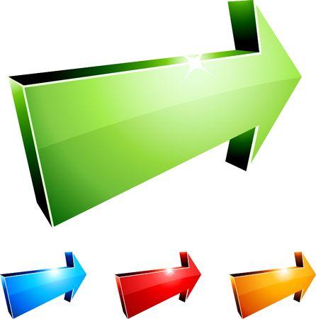 recurrence: 3D vibrant arrows.  illustration.  Illustration