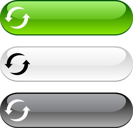 refrescarse: Actualizar botones brillante. Versión en color de tres.  Vectores