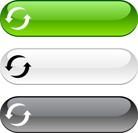 refresh: Refresh glossy buttons. Three color version.