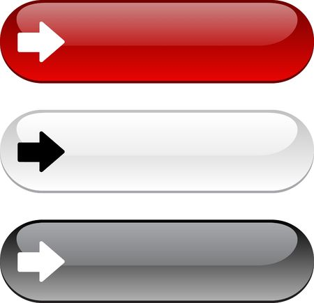 go button: Arrow glossy buttons. Three color version.