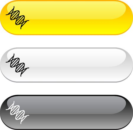 DNA glossy buttons. Three color version.  Vector