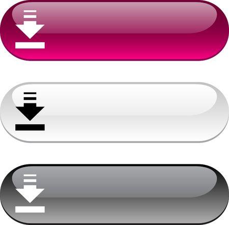 광택있는 버튼을 다운로드합니다. 세 가지 색상 버전입니다.