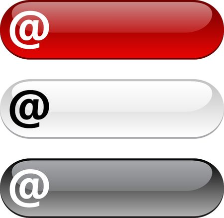 arroba: Arroba glossy buttons. Three color version.  Illustration