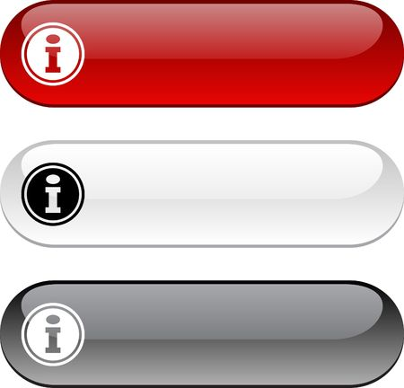 info button: Info glossy buttons. Three color version.