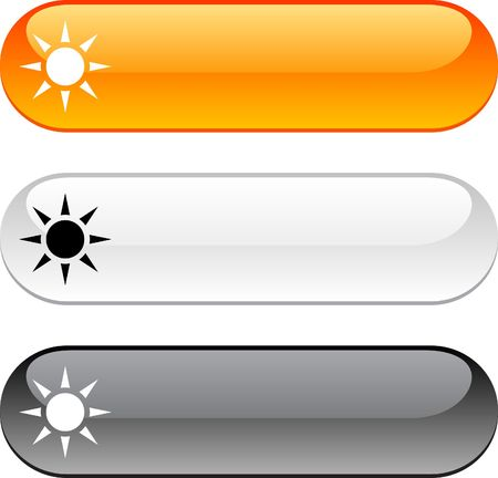 Sun glossy buttons. Three color version. Stock Vector - 6784758