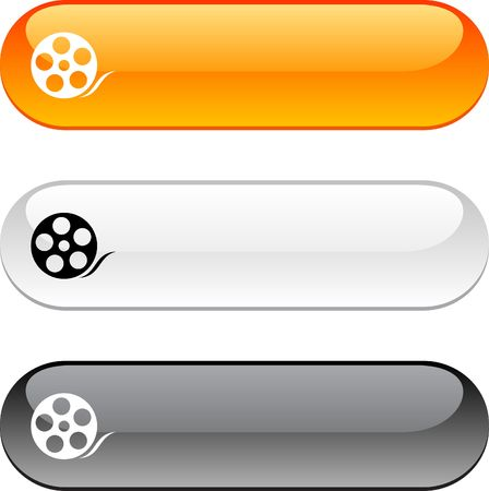 video icon: Media glossy buttons. Three color version.