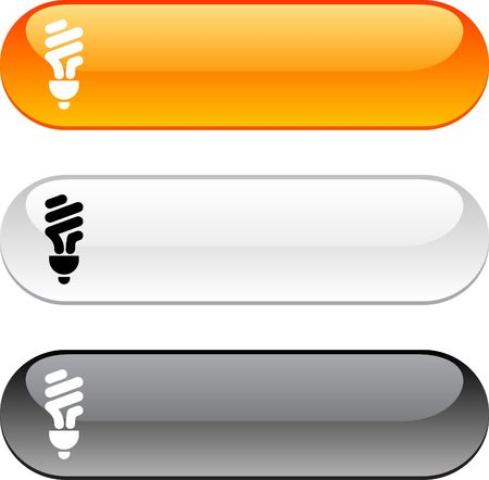 fluorescent: Fluorescent bulb glossy buttons. Three color version.