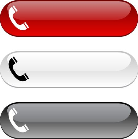 приемник: Telephone glossy buttons. Three color version.