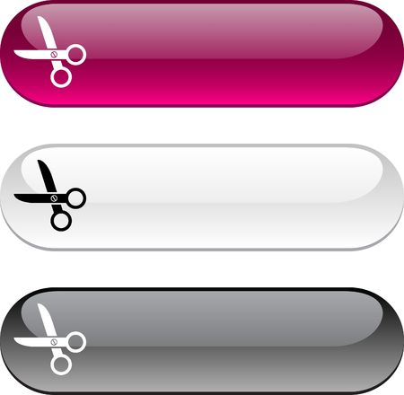 scissors glossy buttons. Three color version.  Illustration