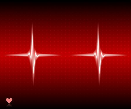 Red heart beat. Ekg graph. Vector