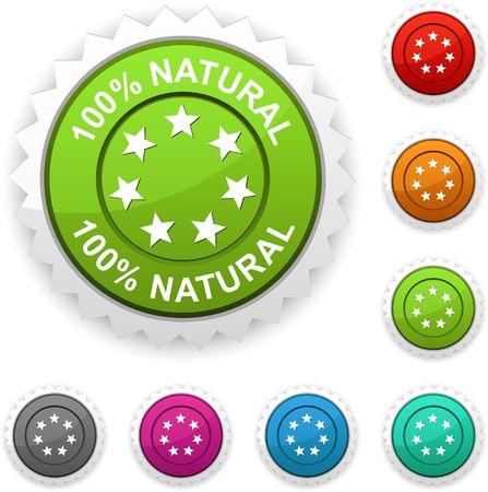 100% Natural  award button.  Stock Vector - 6784804