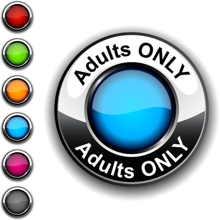 internet porn: Adults only realistic button.  Illustration