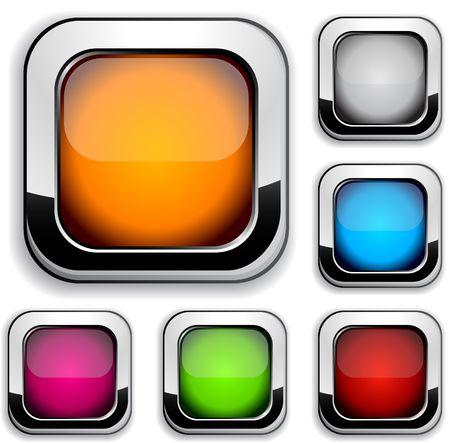 cuadrados: Colecci�n de botones brillante.