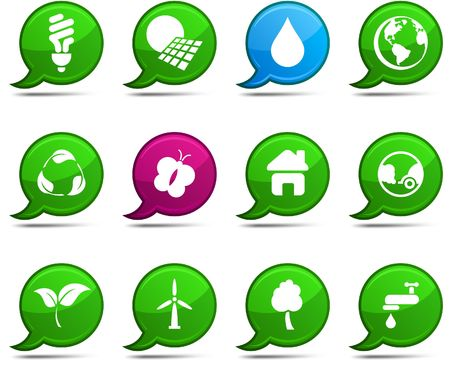 Ecology set of round glossy comics. Stock Vector - 6799588
