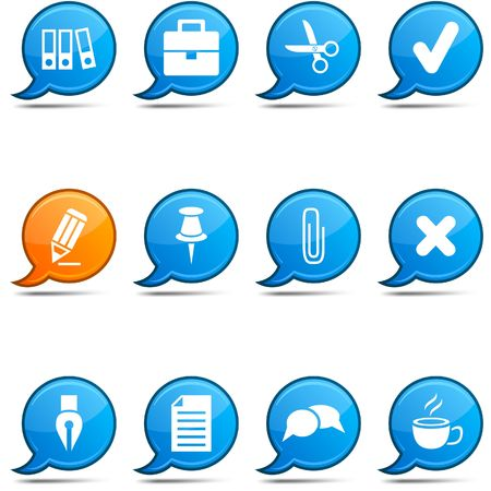 office icons: Office set of round glossy comics.