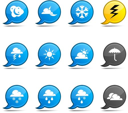 Weather set of round glossy comics. Stock Vector - 6799604