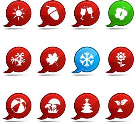 Seasons set of round glossy comics. Vector