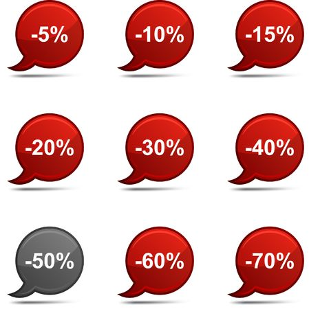 Discount set of round glossy comics. Vector