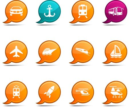 ship icon: Transport set of round glossy comics.