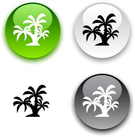 tropical glossy round  buttons. Stock Vector - 6811668