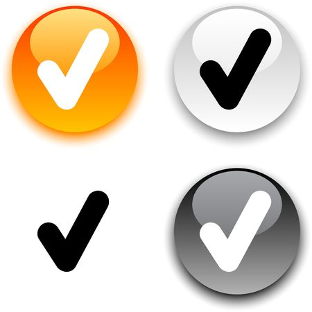 Check glossy round  buttons.  Vector