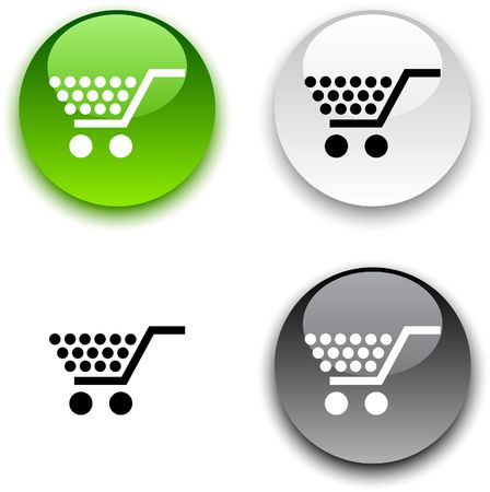 shopping cart icon: Shopping glossy round buttons.  Illustration