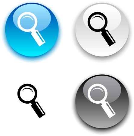 search button: Searching glossy round buttons.  Illustration