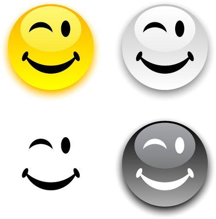 Smiley glanzende ronde knoppen.