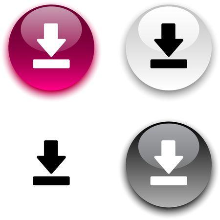 光沢のある丸いボタンをダウンロードします。
