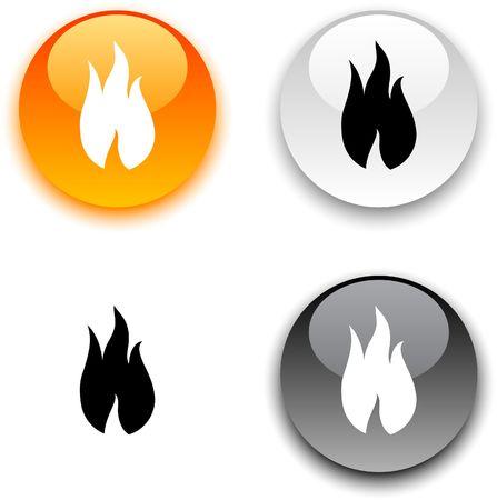 Feuer glänzend runden Schaltflächen.