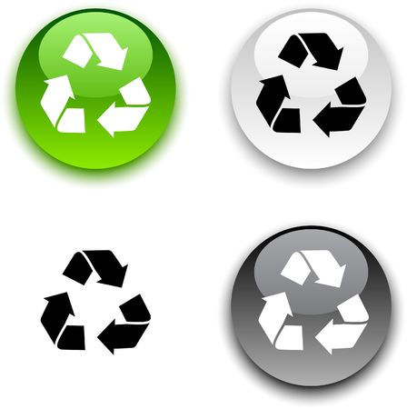 Recycle glossy round  buttons.