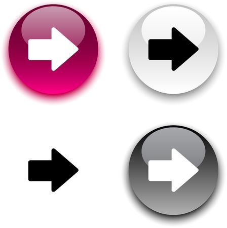 circle arrows: Arrow glossy round buttons.  Illustration