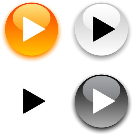 Play glossy round buttons.  Vector