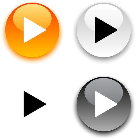 spielen: Spielen Sie glossy Runde Schaltflächen.  Illustration