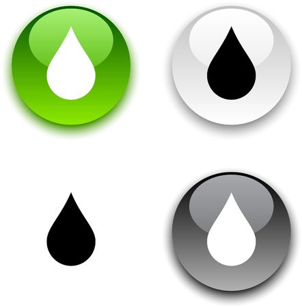 gota agua: Lluvia brillante ronda botones.
