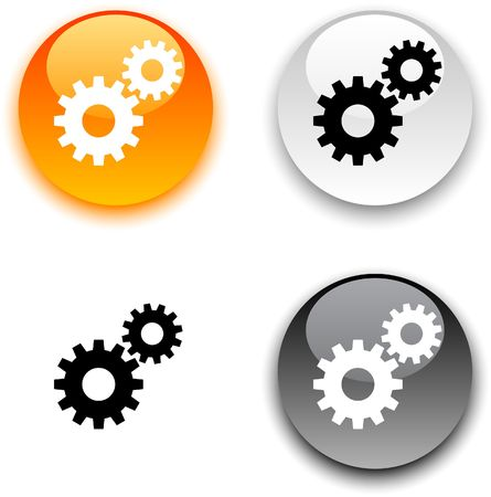 gears icon: Settings glossy round buttons.