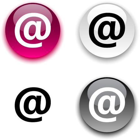 arroba: Arroba glossy round  buttons. Illustration