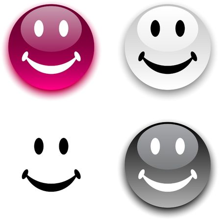 light  glossy: Smiley glossy round  buttons.  Illustration