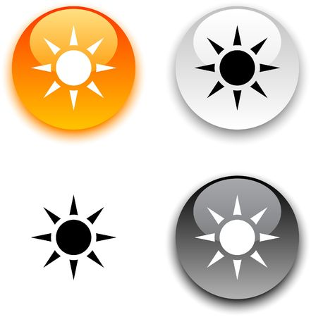 sun ray: Sun glossy round buttons. Illustration