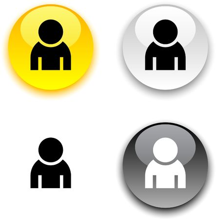 person icon: Person glossy round  buttons.
